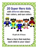 Super Hero Kids multi-cultural different trait combinations