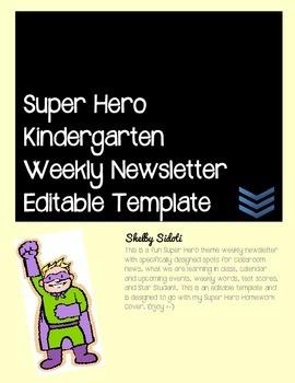 Super Hero Kindergarten Weekly Newsletter Editable Template