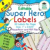 Superhero Labels Editable (Avery 5160, 8160) Super Hero