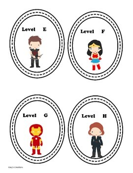 Super Hero Labels for Guided Reading Tubs