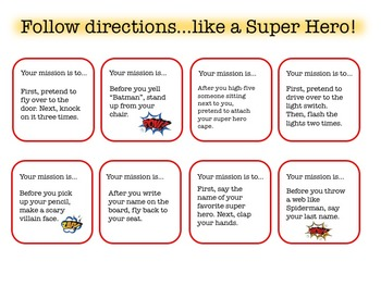 Super Hero Language: Topic Cards, WH Questions, Following Directions, and more!