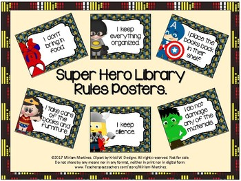 Super Hero Library Rules Posters