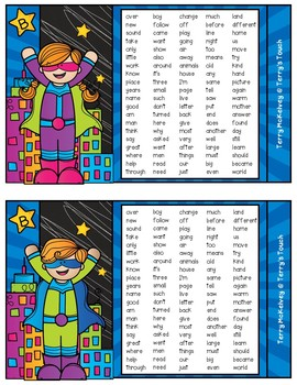 Super Hero Literacy First Sight Word Cards Lists K, A, B, C