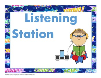 Super Hero Literacy Station Full Size Signs