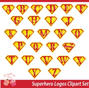 Super Hero Logos Clipart Set