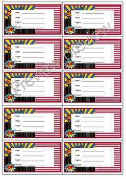 Super Hero theme book labels back to school