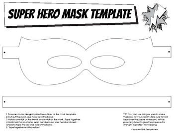 Super Hero Mask Template