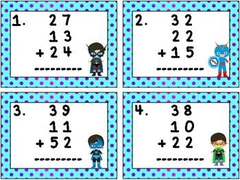 Super Hero Math: Adding Three Two-Digit Numbers