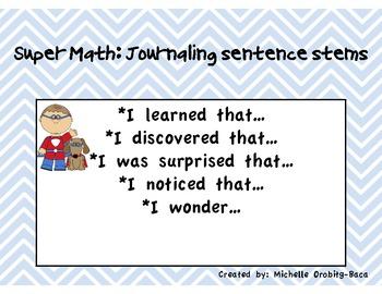 Super Hero Math Bilingual Journaling Sentence Stems: Student Edition