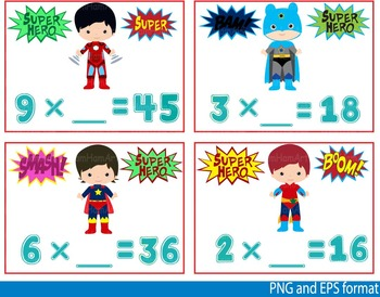 Super Hero Math Clip Art school mathematics Multiplication Shapes teachers -122-