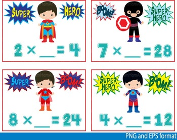 Super Hero Math Clip Art school mathematics Multiplication