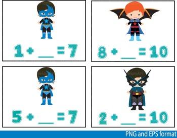 Super Hero Math Clip Art school mathematics Multiplication count teachers -116-