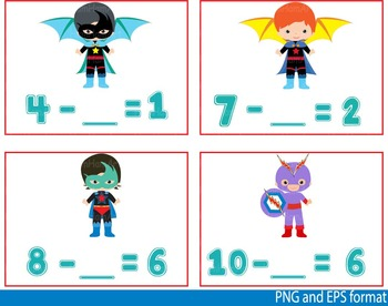 Super Hero Math Clip Art school mathematics Multiplication count teachers -118-