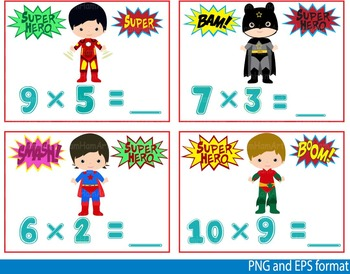 Super Hero Math Clip Art school mathematics Multiplication count teachers -121-