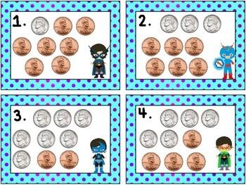 Super Hero Math: Counting Money BUNDLE