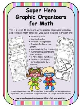 Super Hero Math Graphic Organizers