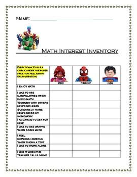 Super Hero Math Interest Inventory