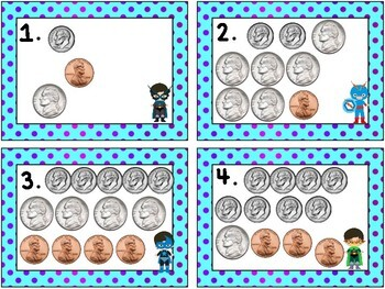 Super Hero Math: Money- Counting Pennies, Nickels, Dimes