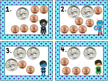 Super Hero Math: Money- Counting Pennies and Quarters