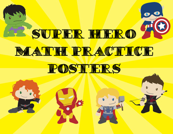 Super Hero Math Practice Posters