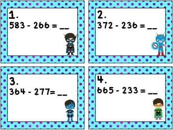 Super Hero Math: Rewrite Three Digit Subtraction Problems