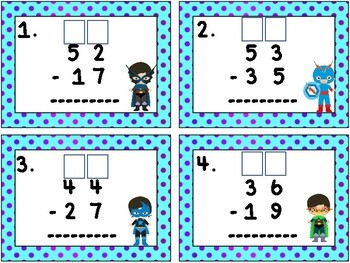 Super Hero Math: Subtracting Two Digit Numbers from Two Digit Numbers