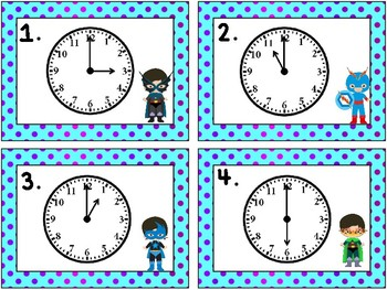 Super Hero Math: Telling Time to the Hour