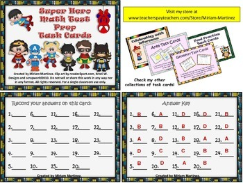 Super Hero Math Test Prep Task Cards.
