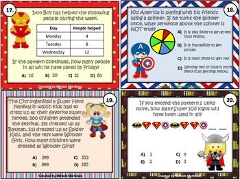 Super Hero Math Test Prep Task Cards - Set 2.