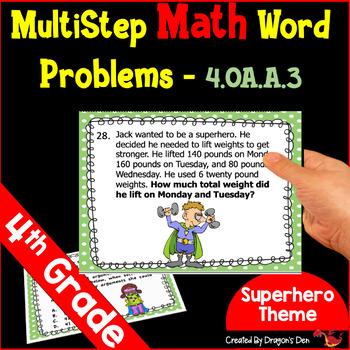 4th Grade Super-Hero Math Word Problem Task Cards