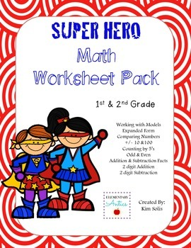 Superhero Math Worksheet Pack {1st & 2nd Grade}