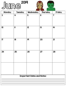 Super Hero Monthly Calendars - Editable