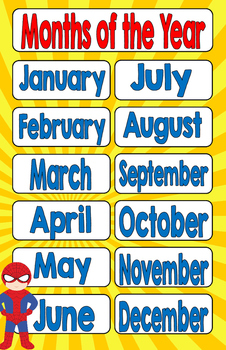 Superhero Months of the Year 11 x 17