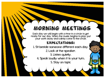 Super Hero Morning Meeting Start Up Guide