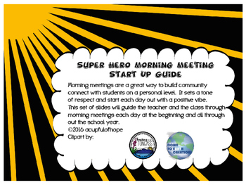 Super Hero Morning Meeting Start Up Guide