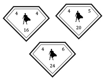 Super Hero Multiplication & Division Fact Family Cards