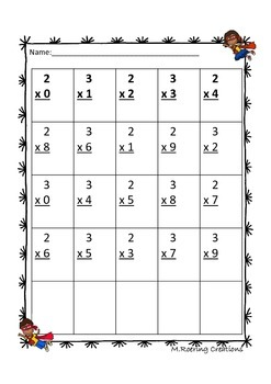 Super Hero Multiplication Packet 0-9