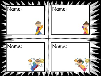 Super Hero Name Cards
