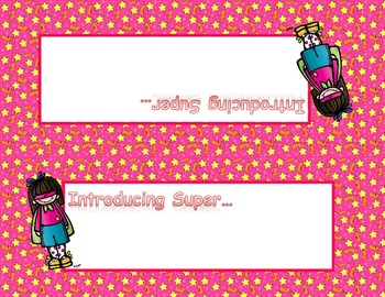 Super Hero Desk Name Tags -- Female Heroes on Pink Background