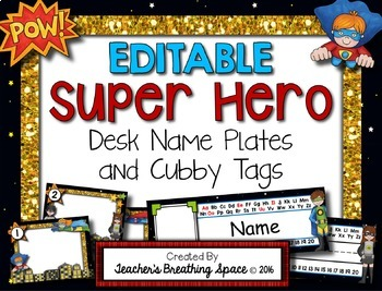 Super Hero Desk Plates and Cubby Tags ***EDITABLE***