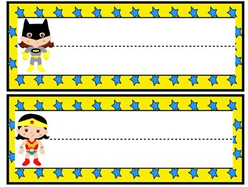 Super Hero Name Plates/Basket Labels