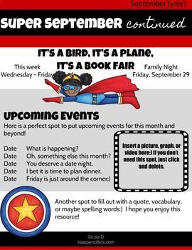 Super Hero Newsletter EDITABLE in Google Slides (Superhero)