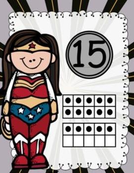 Super Hero Number Cards 0-20