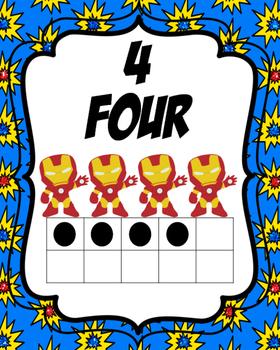Super Hero Number Cards: 1-10