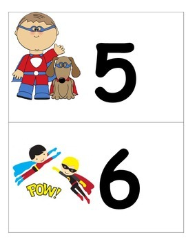 Super Hero Number Cards