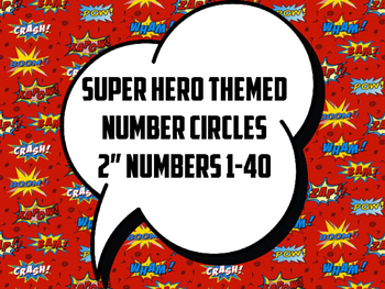 "Super Hero Number Circles (Red, 2"")"