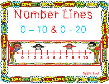 Super Hero Number Lines      0 - 10 & 0 - 20