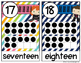 Super Hero Number Posters 0-20 {Bright Colors and Stripes}