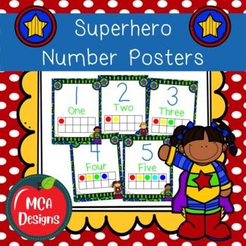 Super Hero - Number Posters