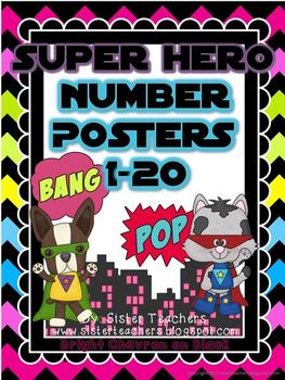 Super Hero Number Posters: Bright Chevron on Black